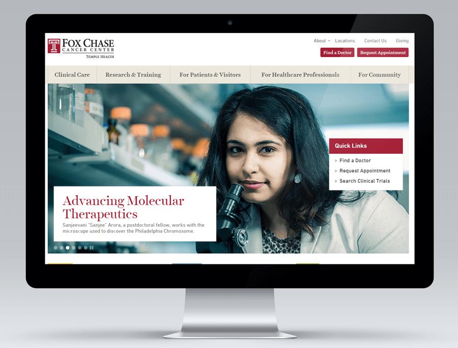 Fox Chase Cancer Center, Desktop Website Display