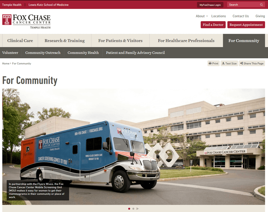 Fox Chase Cancer Center, University Website Production Services MA