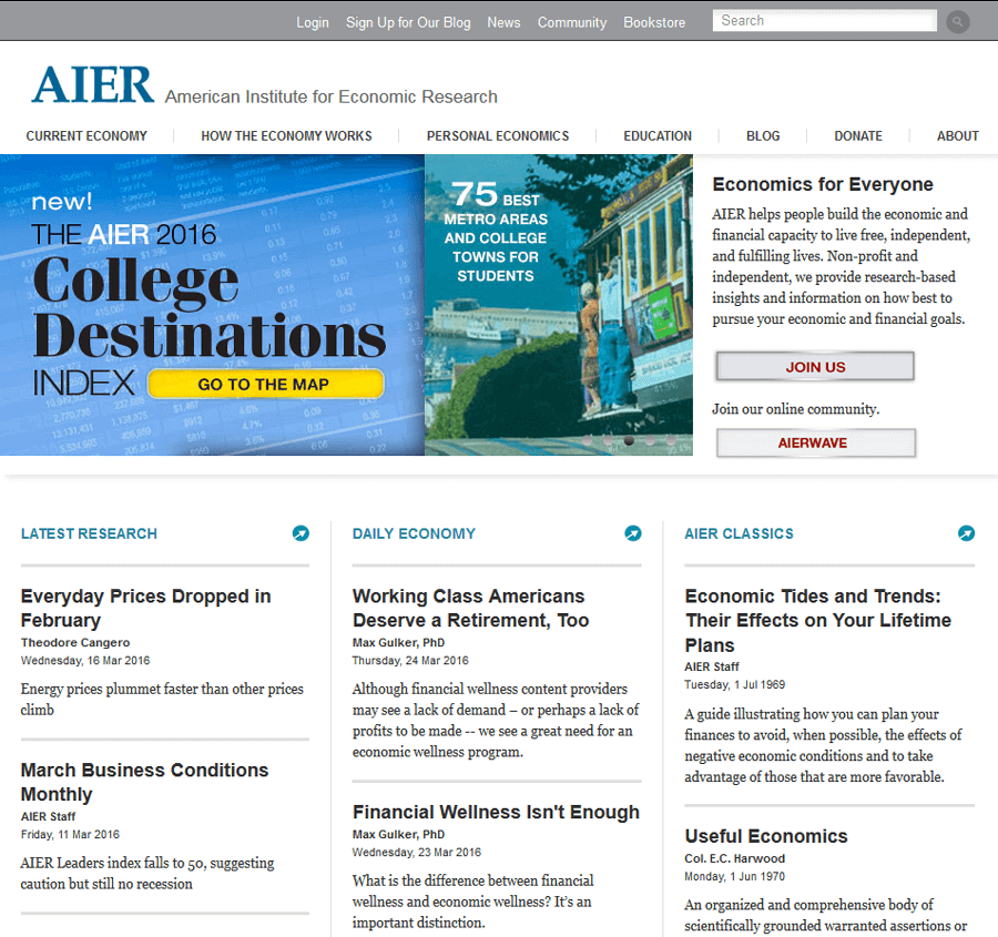 American Institute for Economic Research (AIER), Drupal Web Services