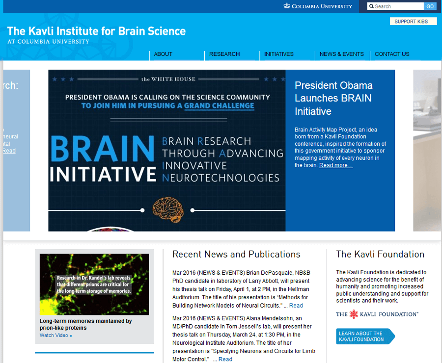 The Kavli Institute for Brain Science ,University Website Production MA