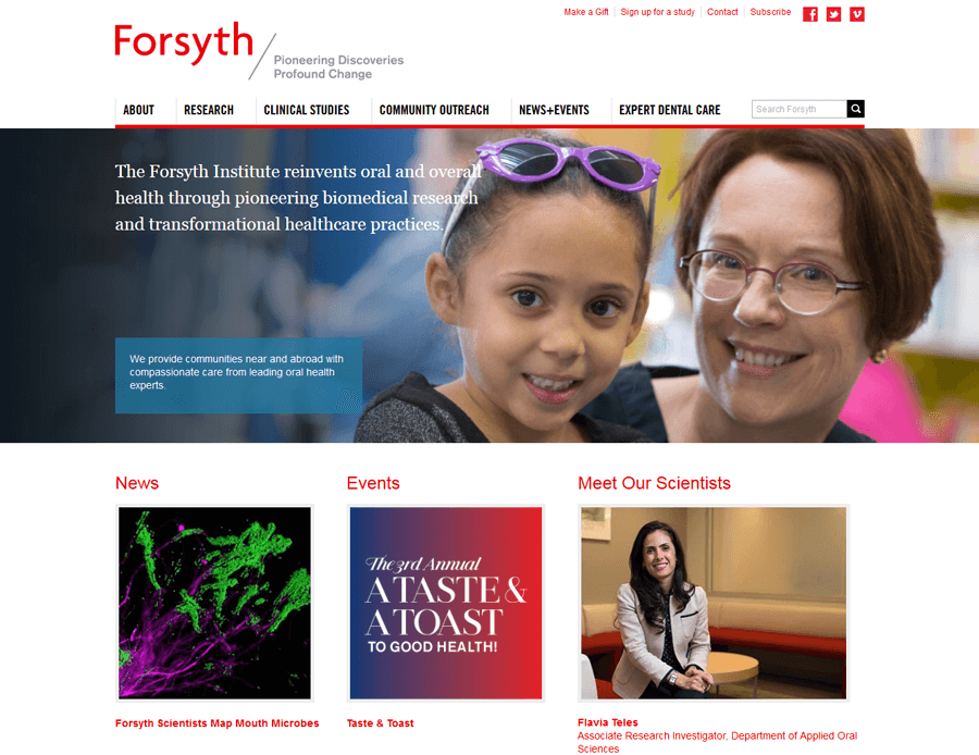 The Forsyth Institute, MA Education Website Redesign