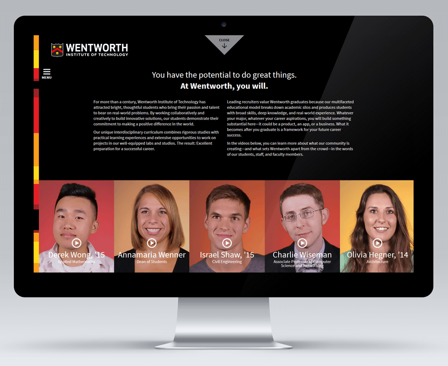 Wentworth Institute of Technology Digital Viewbook, Education Web Design MA