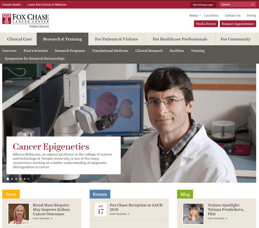 Fox Chase Cancer Center, University Website Development