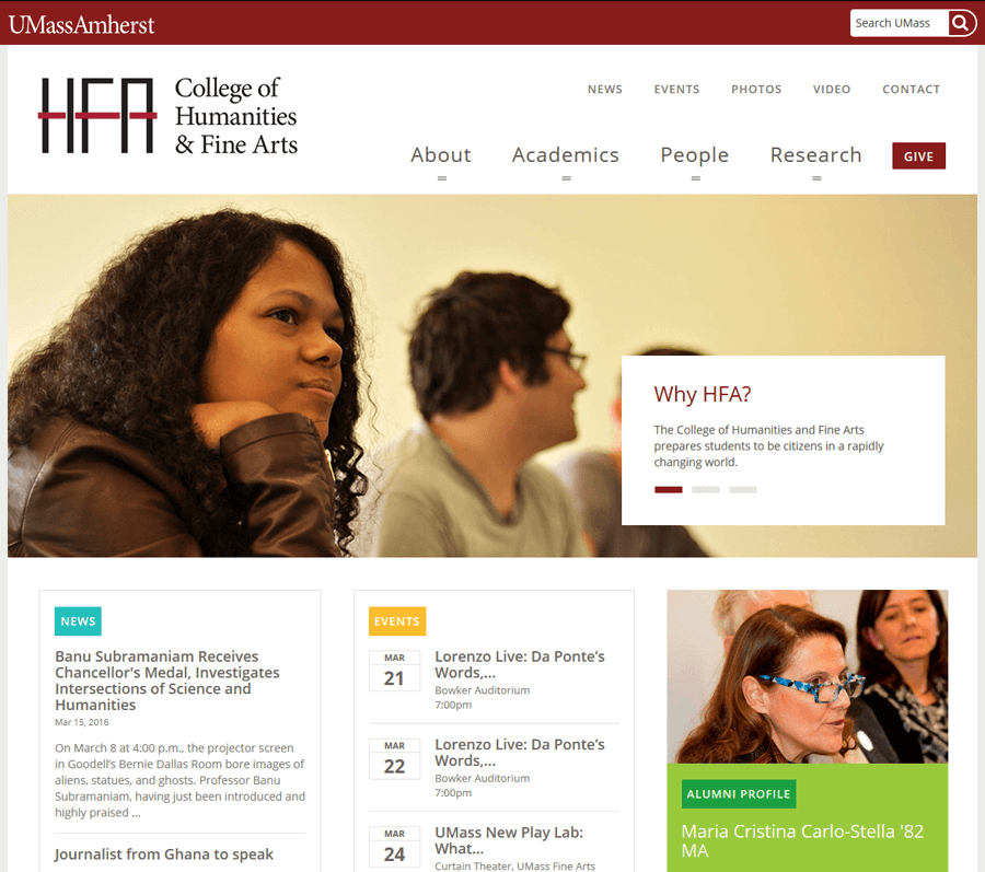 UMass Humanities and Fine Arts, Education Drupal Web Services MA