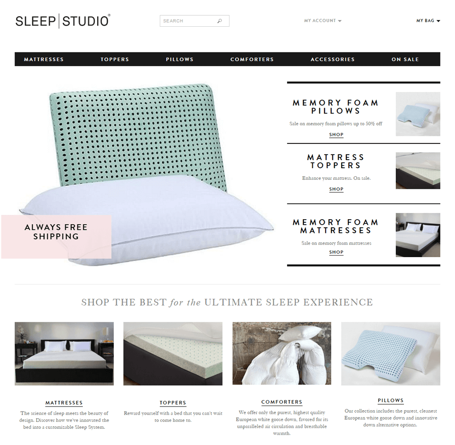 Sleep Studio, ecommerce web production MA