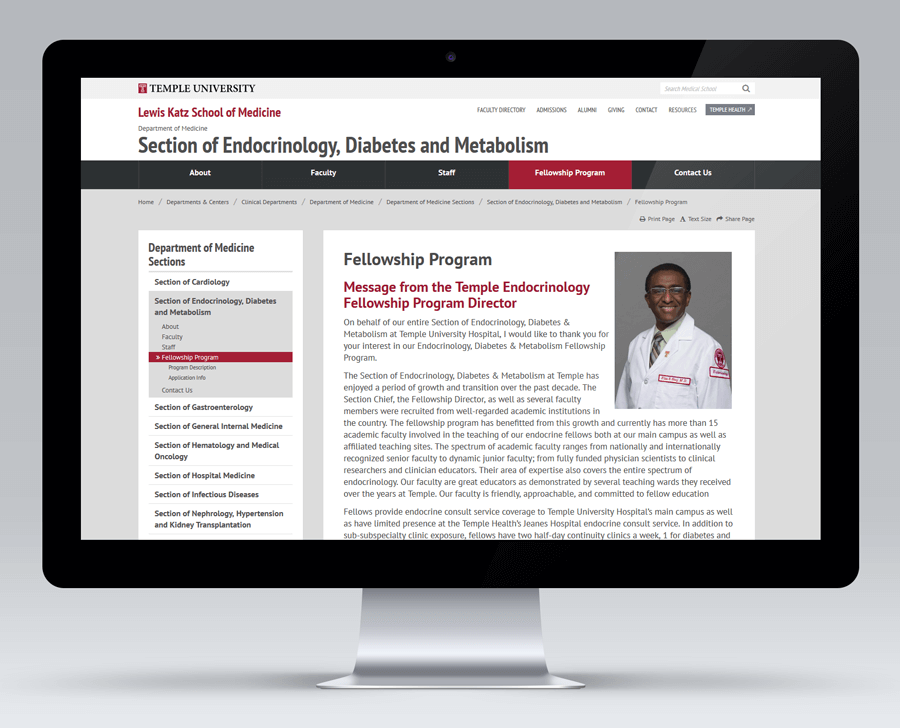 Temple University Lewis Katz School of Medicine, Education Drupal Web Development